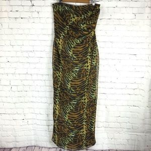 Andrea Polizzi Sheer Animal Print Strapless Dress